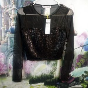 BCBG Mesh and sequin top